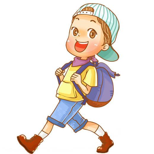 وکتور کودک در حال رفتن مدرسه