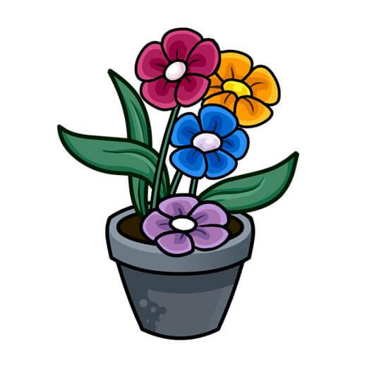 وکتور گلدان کارتونی PNG