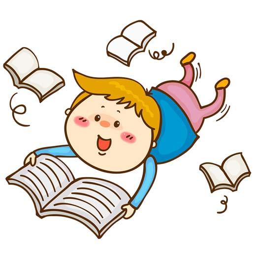 وکتور پسر بچه درحال درس نوشتن